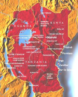 kenya Tanzania safari map