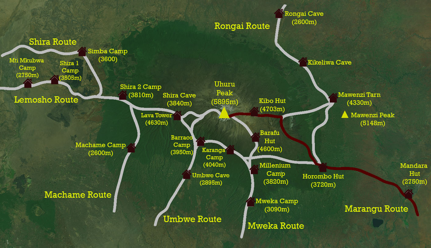 mt kilimanjaro map marangu